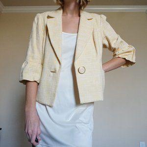 Nicole Miller Buttery Yellow Tweed Blazer